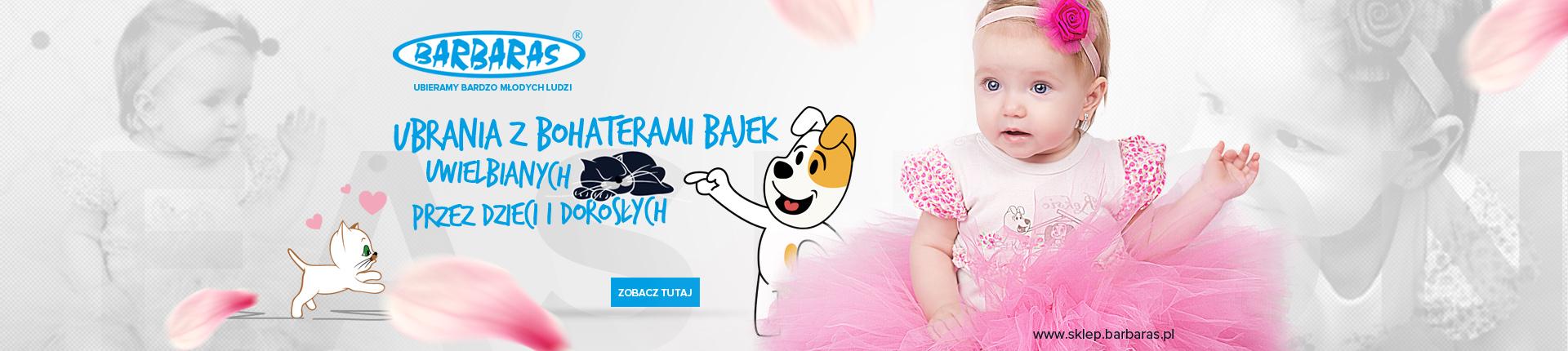 Barbaras - Producent modnych ubranek i czapek dziecięcych z wizerunkiem psa Reksia, kota Filemona i Bonifacego.
